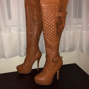 Shoes - Tan Platform Knee Boots